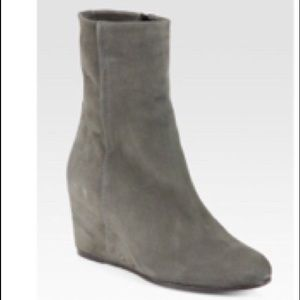 Vince Grey Michela Suede Wedge Ankle Boots